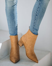 District Heeled Zip Bootie - Camel