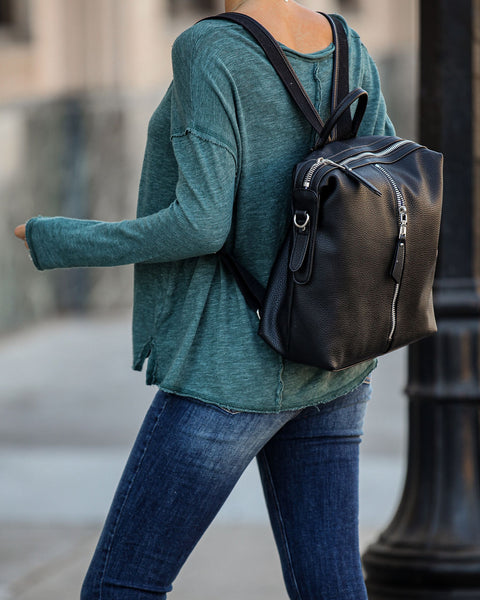 So It Seams Cotton Blend Long Sleeve Tee - Teal - FINAL SALE