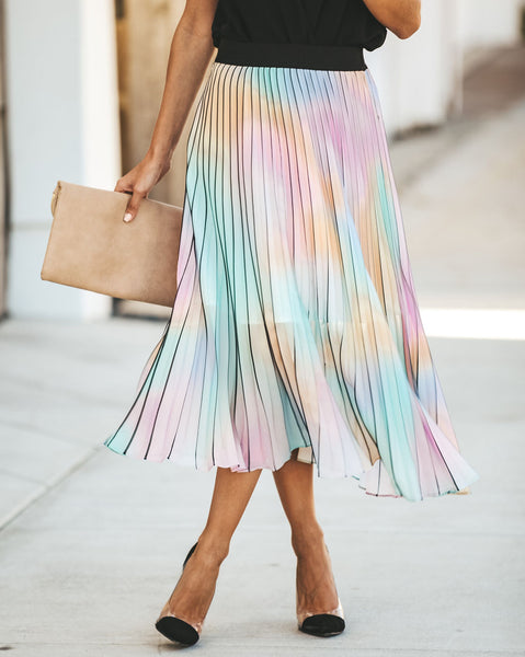 Colors Of The Wind Pleated Midi Skirt