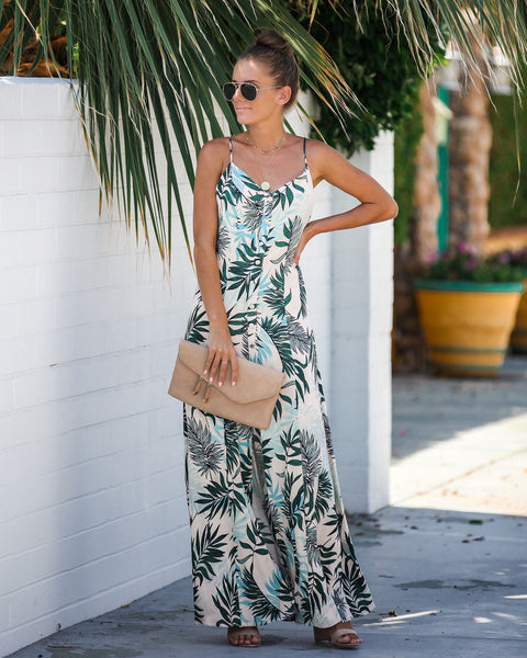 Just Chillin' Palm Print Maxi Dress - FINAL SALE
