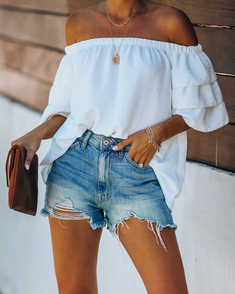 Allure Off The Shoulder Tiered Sleeve Blouse - Off White