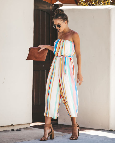 Candy Crush Strapless Pocketed Jumpsuit