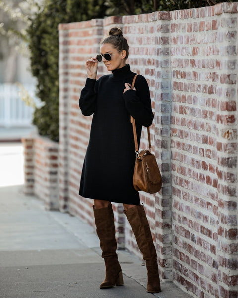 Chilly Mornings Turtleneck Sweater Dress
