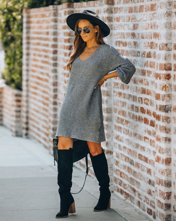 Blackbird Pocketed Sweater Dress - Charcoal
