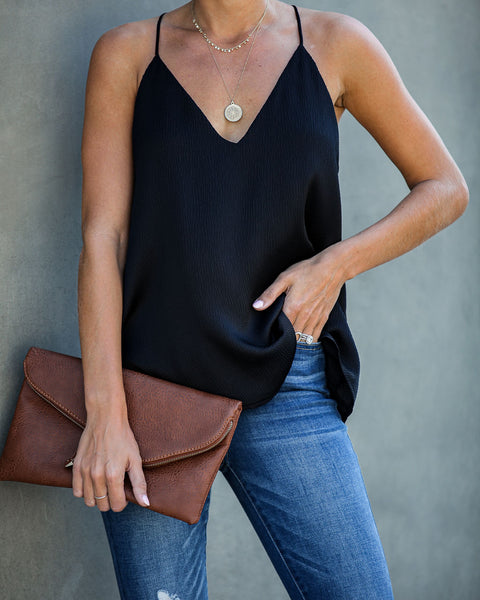 Sophisticated Living Textured Racerback Tank - Black