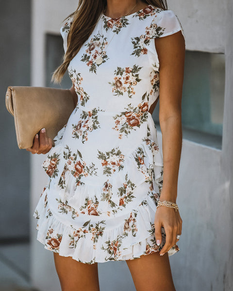 Sunday Best Backless Floral Ruffle Dress
