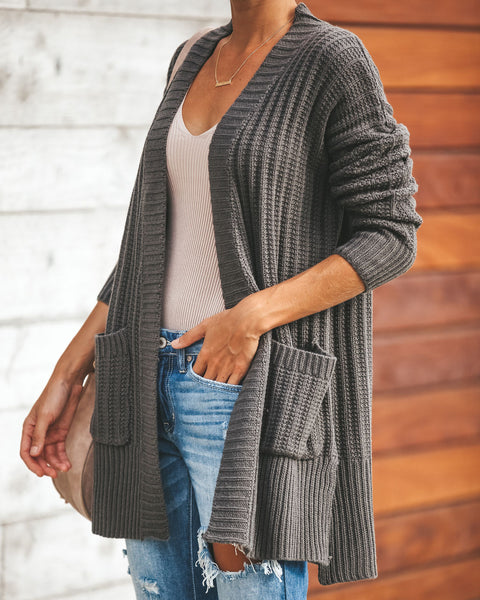 Harper Pocketed Knit Cardigan - Charcoal