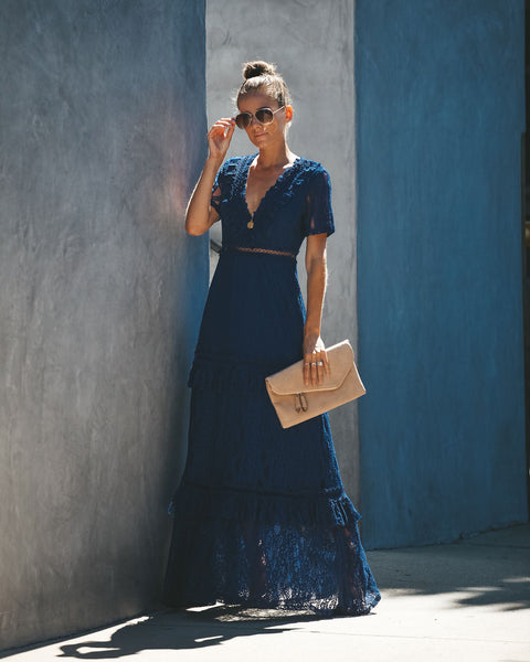 Endless Tiered Lace Maxi Dress - Navy