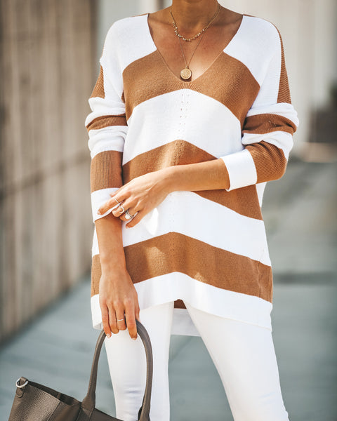 Kimberly Striped Knit Sweater - Toffee
