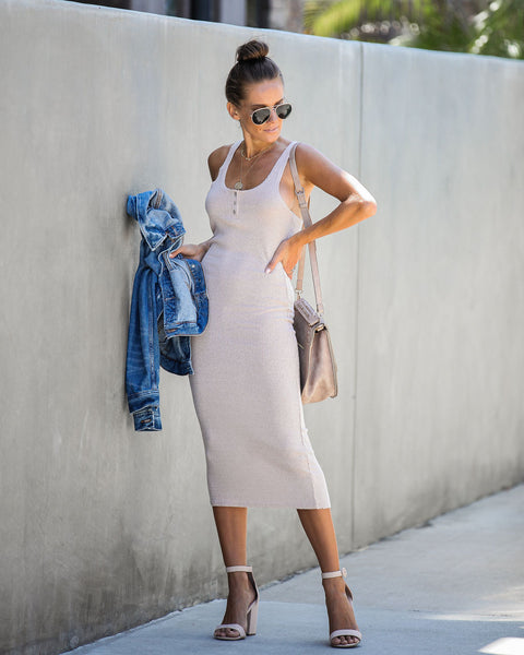 Indian Summer Ribbed Knit Midi Dress - Oatmeal - FINAL SALE