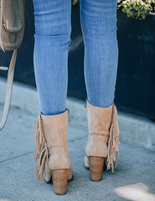 Jacklyn Fringe Heeled Boot - Taupe