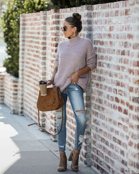 Slip Away Mock Neck Knit Sweater