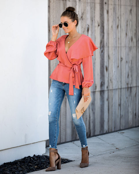 Nicola Satin Ruffle Wrap Blouse - Clay