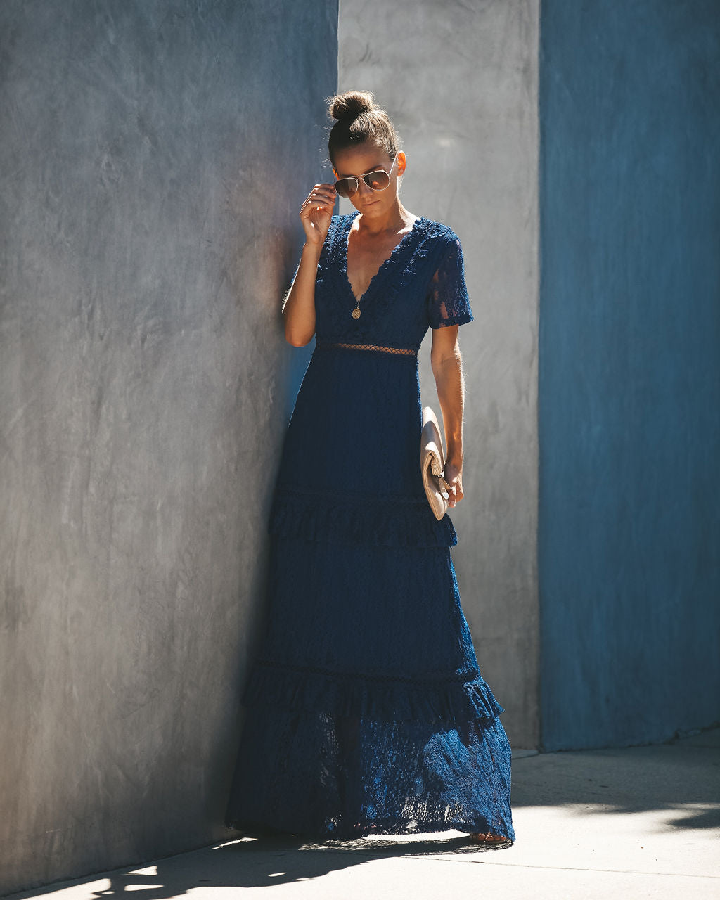 fdc195ff703 Detail Product. FILTER ← Home - DRESSES - Endless Tiered Lace Maxi Dress -  Navy