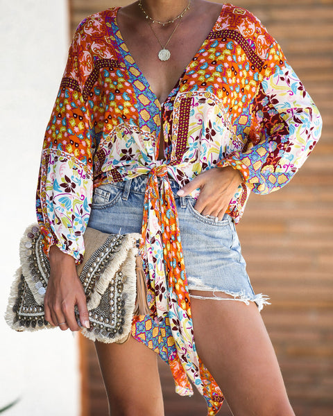 That 70's Printed Tie Top