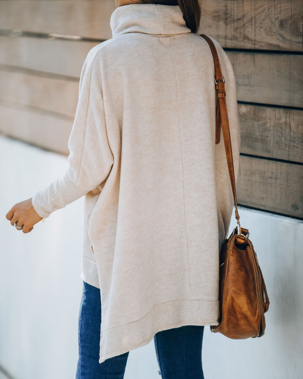 Silent Snowfall Cowl Neck Sweater - Oatmeal