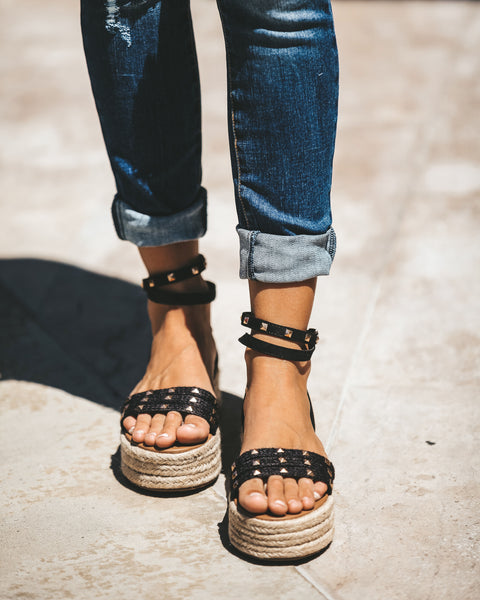 Mary Jane Studded Espadrille Sandal - Black