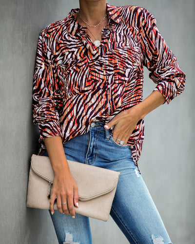 Wild Zebra Button Down Top  - FINAL SALE