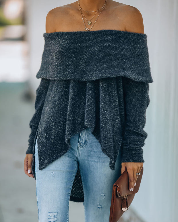 All Is Bright Cowl Neck Chenille Sweater - Charcoal