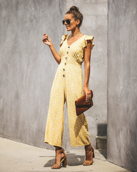 Courteous Button Down Ruffle Jumpsuit - Sunflower