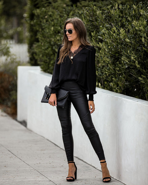 Panoramic Faux Leather Zip Leggings