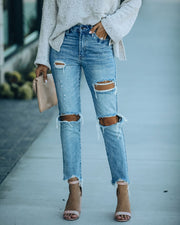 Memento High Rise Distressed Denim