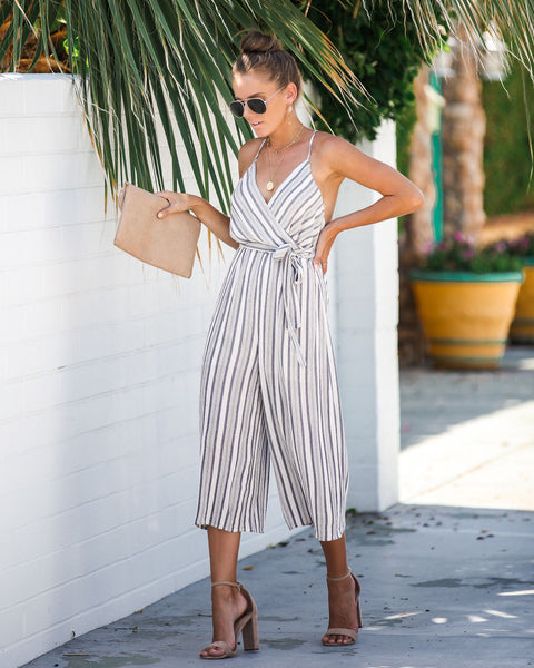 7c8d72507fe1 Shallow End Striped Tie Jumpsuit