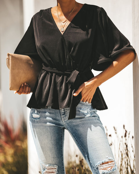 Fortune Favors The Bold Ruffle Sleeve Tie Front Blouse - Black - FINAL SALE