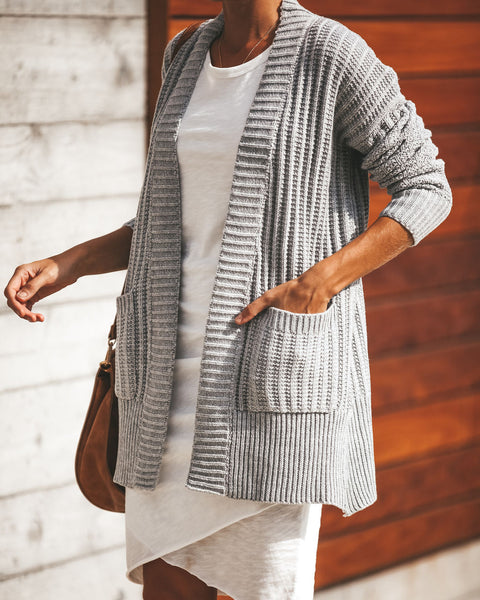 Harper Pocketed Knit Cardigan - Heather Grey