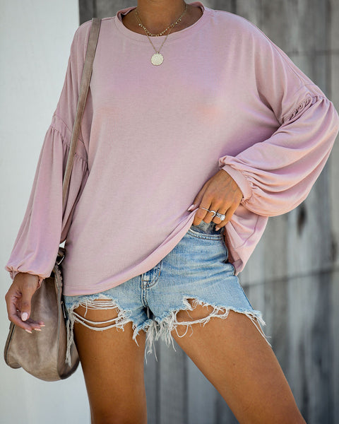 Hot Air Balloon Cotton Long Sleeve Tee - Dusty Pink