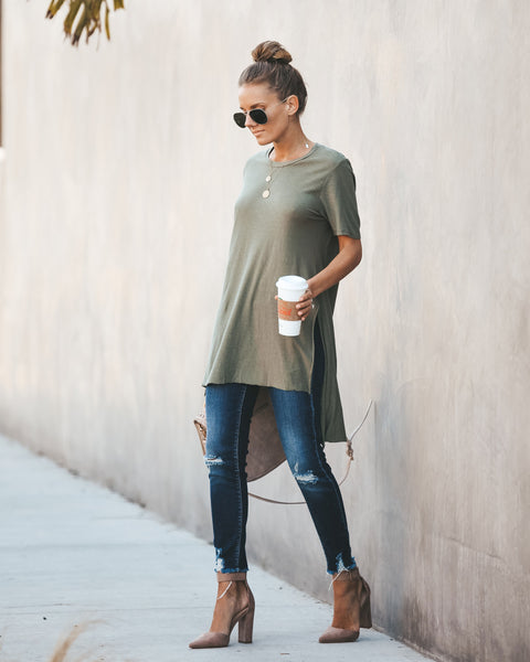 Chino Cotton + Modal High Low Tee - Olive Branch