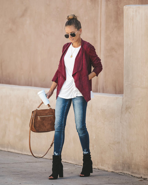 Find Yourself Faux Suede Pocketed Jacket - Burgundy