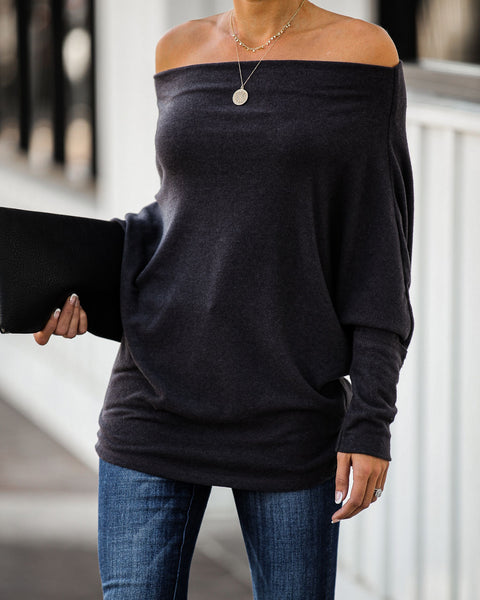 Heart And Soul Asymm Dolman Knit Top - Charcoal