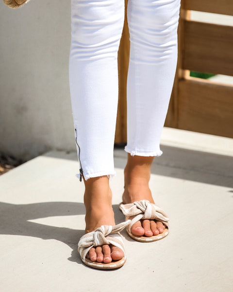 Ariella Striped Knotted Slide Sandals - FINAL SALE