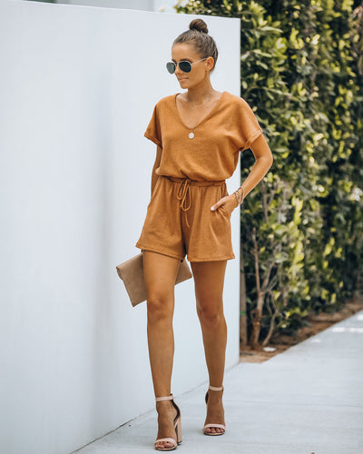 Summer's End Pocketed Knit Romper - Camel