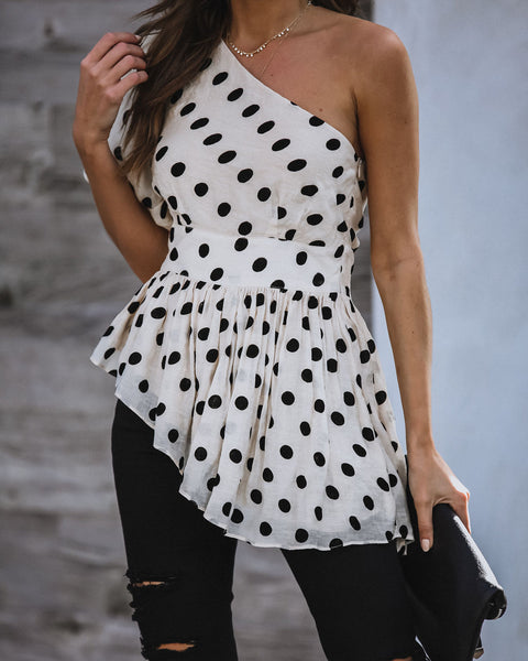 Tea Time One Shoulder Asymmetrical Peplum Top