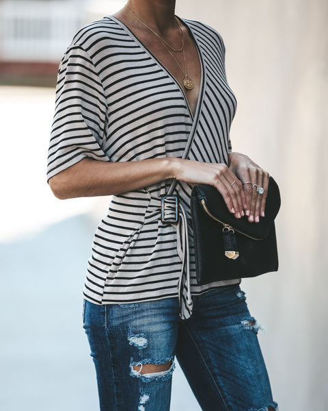 Bailey Striped Knit Belted Wrap Top - Taupe/Black - FINAL SALE