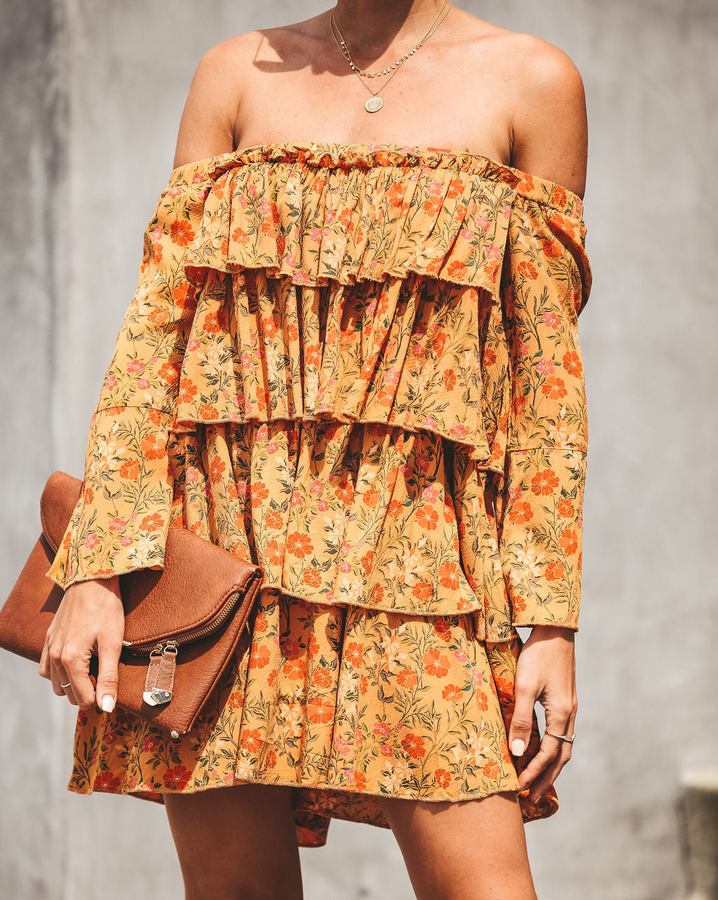 07317a8ec95 Like A Sunflower Tiered Off The Shoulder Dress – VICI