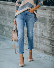 Busy High Rise Distressed Denim