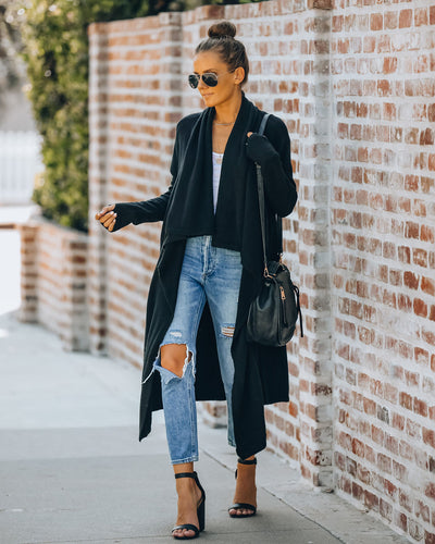 Amanza Knit Duster Cardigan - Black