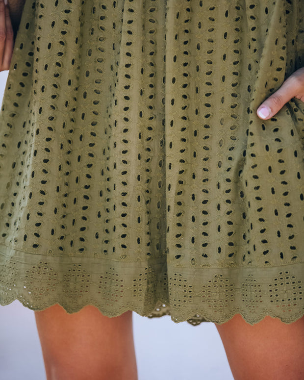 Angel Babe Cotton Eyelet Pocketed Dress - Olive - FINAL SALE