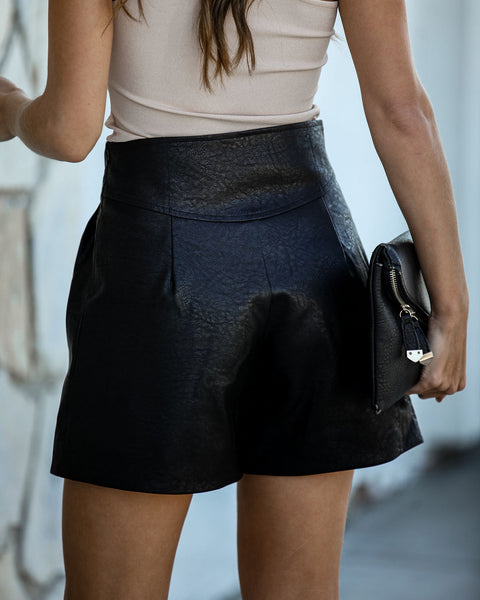 Gotham High Waisted Faux Leather Shorts