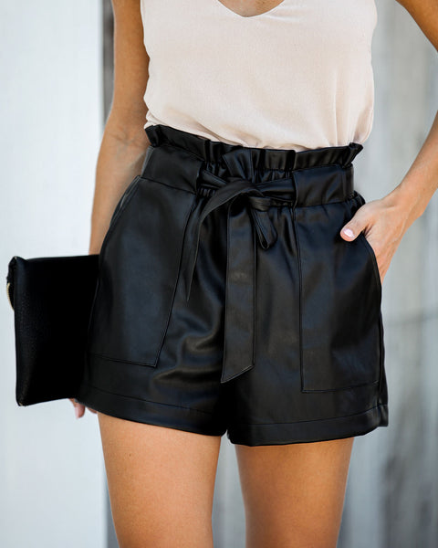 Matte Finish Pocketed Faux Leather Tie Shorts
