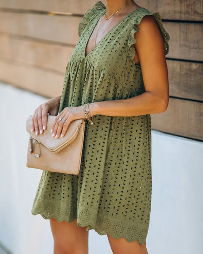 Angel Babe Cotton Eyelet Pocketed Dress - Olive