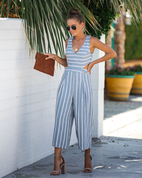 Step By Step Striped Cut Out Jumpsuit