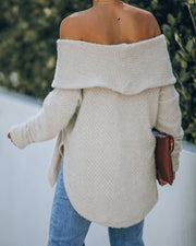 All Is Bright Cowl Neck Chenille Sweater - Light Grey