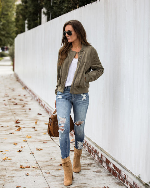 Mitchell Pocketed Faux Suede Bomber Jacket - Olive
