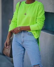 Paint The Town Cotton Blend Pullover - Neon Green