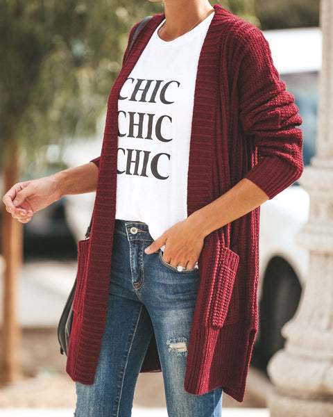 Harper Pocketed Knit Cardigan - Wine