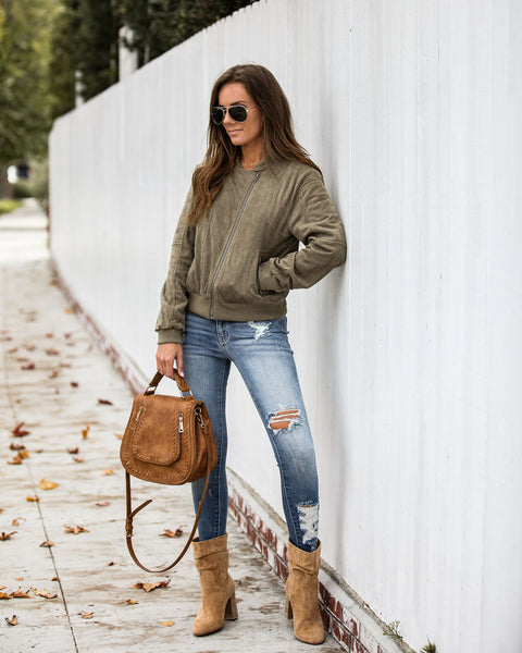 Mitchell Pocketed Faux Suede Bomber Jacket - Olive - FINAL SALE